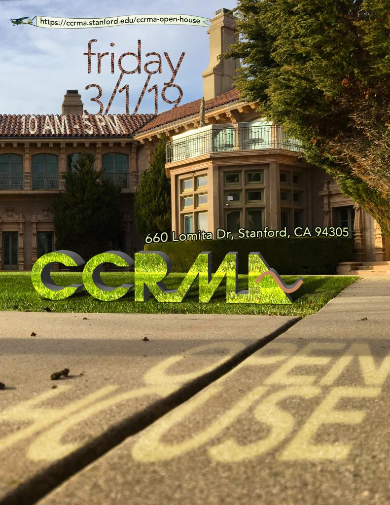 Whimsical poster image advertising CCRMA Open House 2019